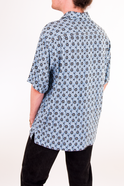 vintage blue printed silk shirt