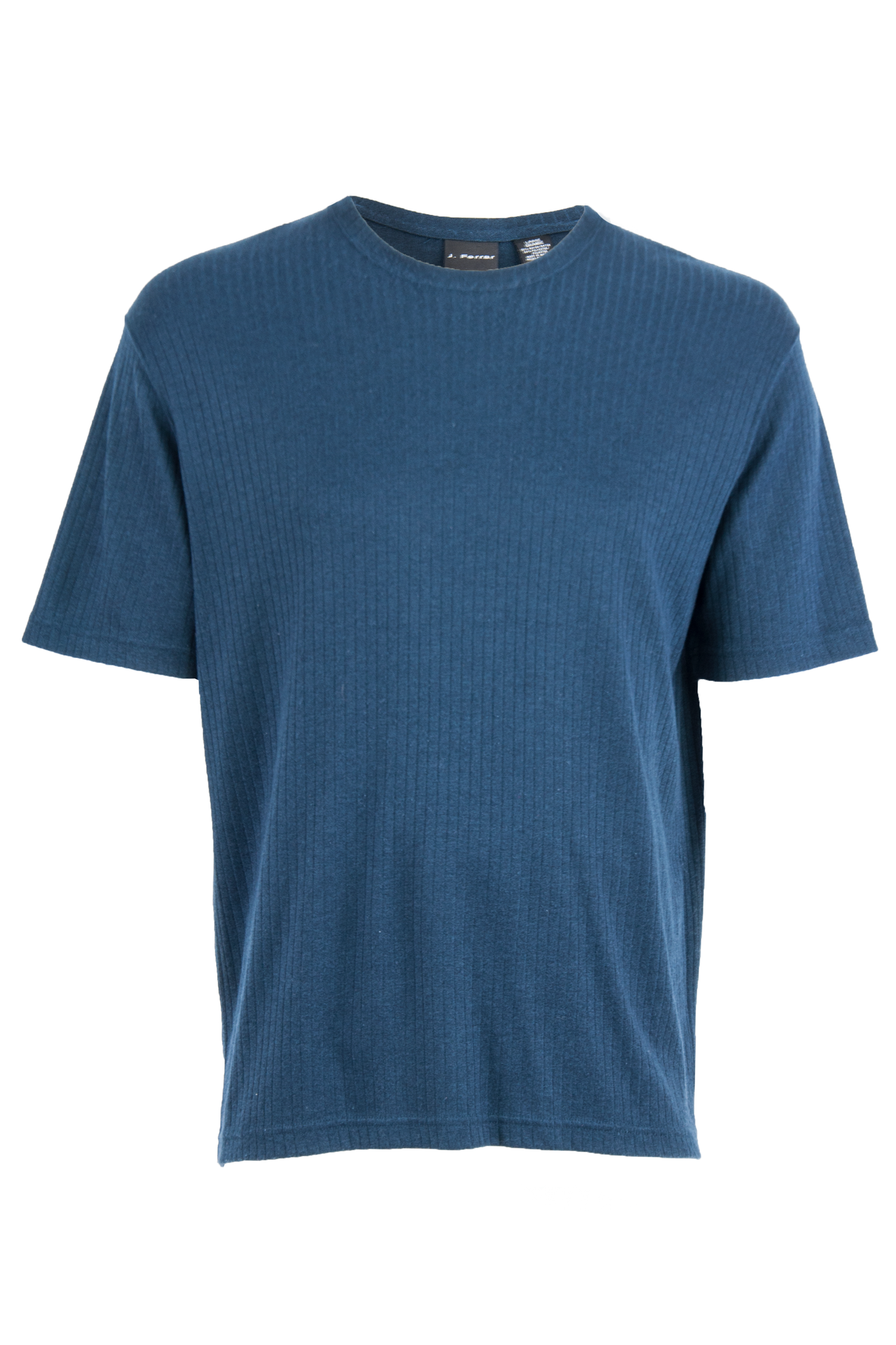 blue t-shirt with ribbing and crewneck