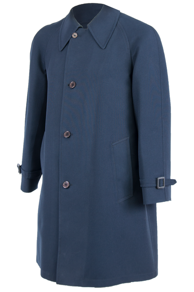vintage navy blue coat with button closure and belted sleeve