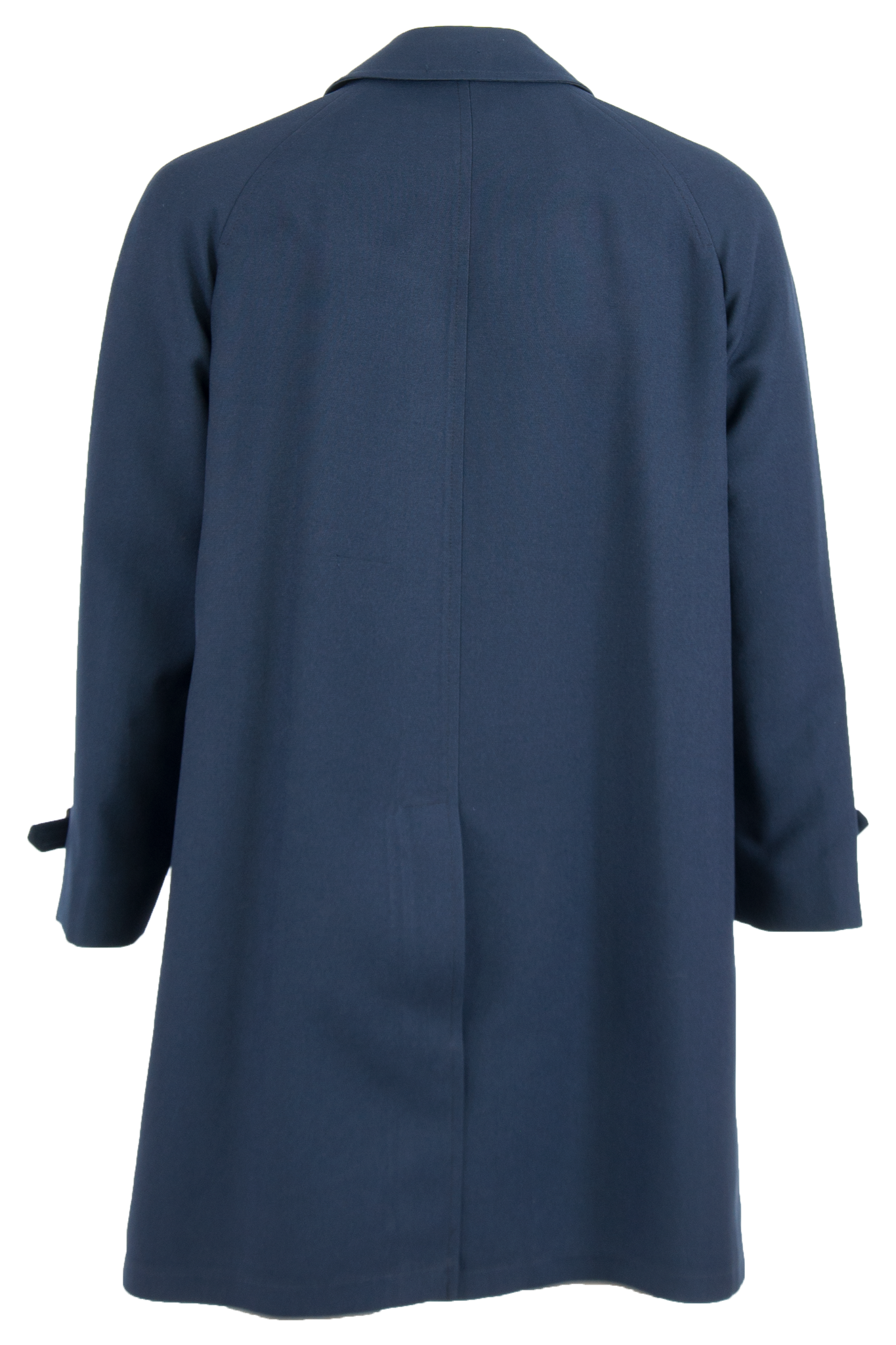 dark blue overcoat with belted sleeves