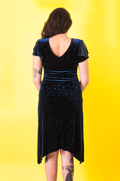 vintage blue velvet dress with metallic floral embroidery throughout