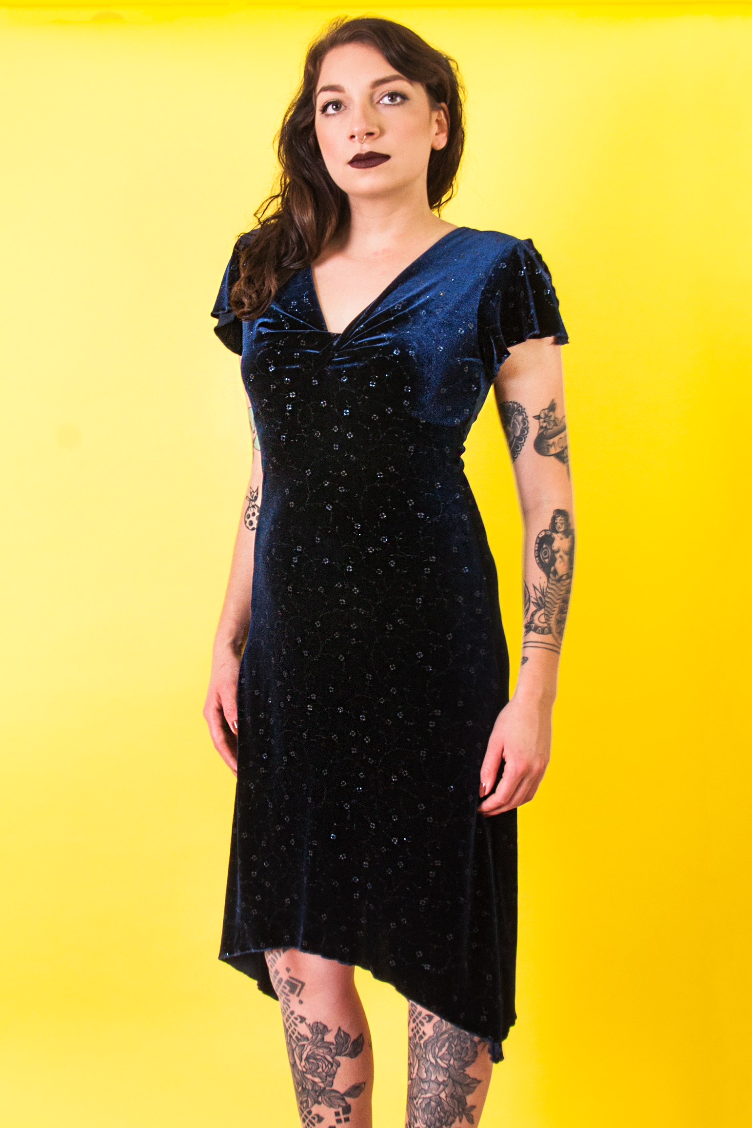 4410fd137 Blue Velvet Dress - Wayne Wardrobe - Vintage + Luxury