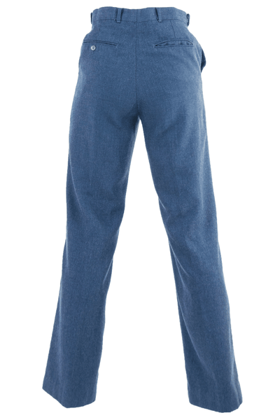 blue slacks with button pocket