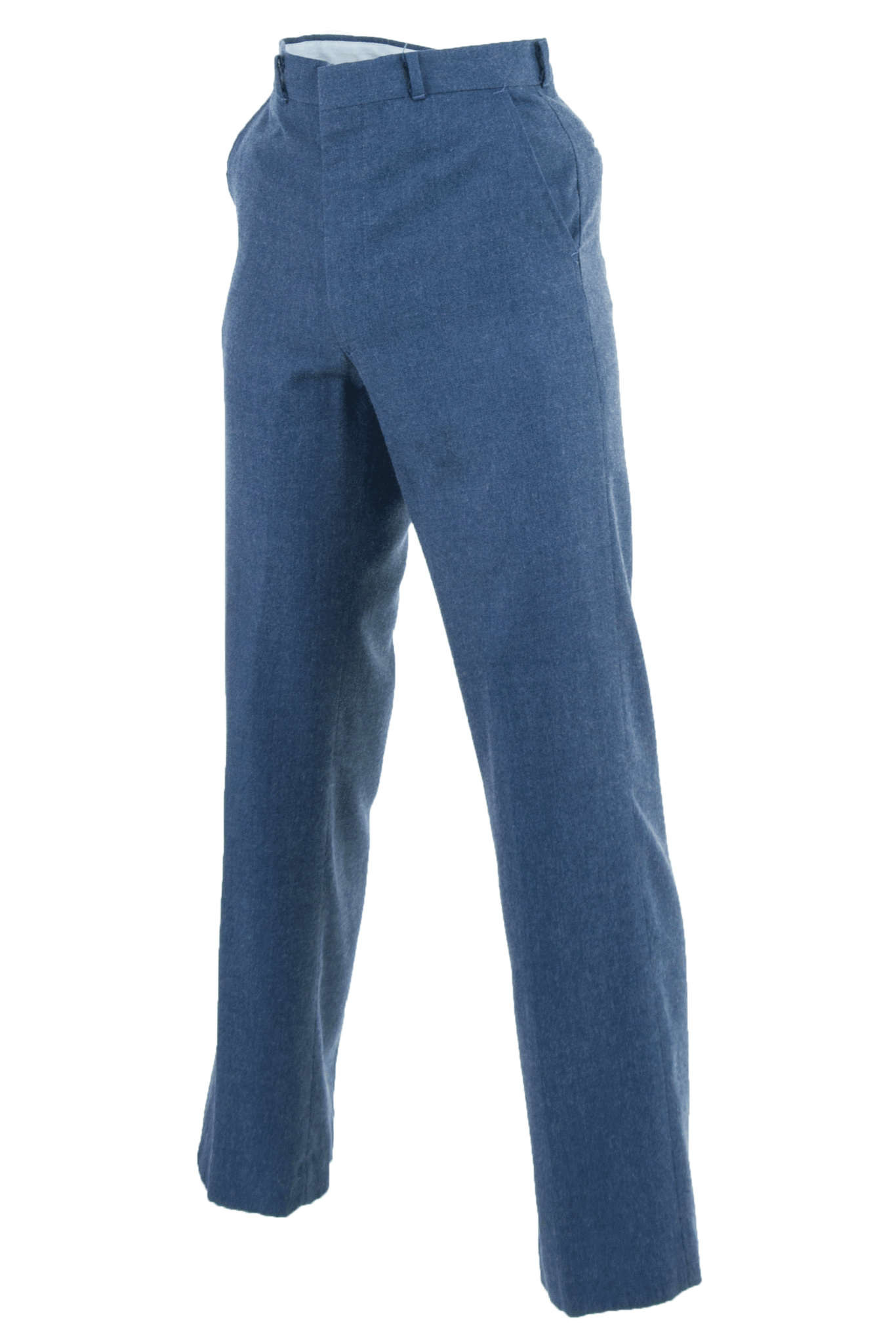 wool slacks in blue with flat front