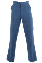 Blue trousers with flat front