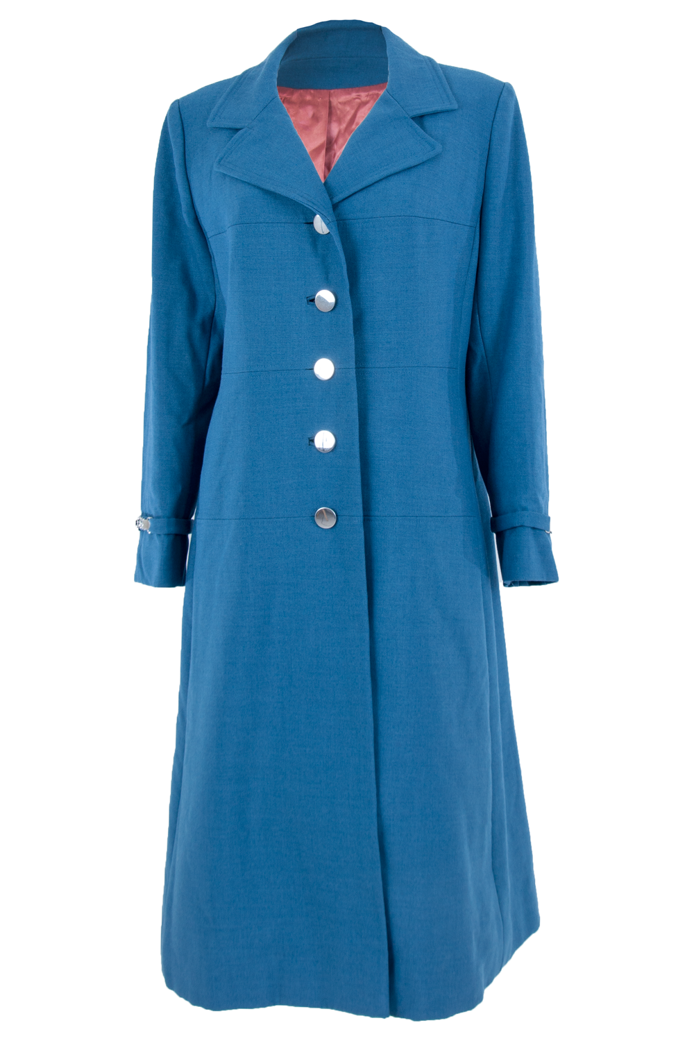 blue vintage coat with silver buttons and orange lining