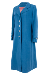 blue vintage coat with silver buttons