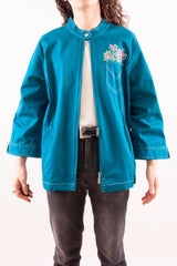 blue samba embroidered bob Mackie jacket