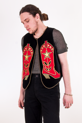 vintage black velvet vest with red cowboy boots and gold trim