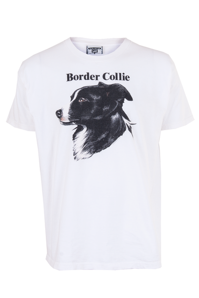 border collie t-shirt in white
