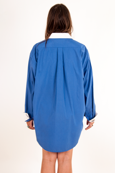 vintage oversized boyfriend shirt in blue