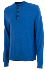Vintage blue sweater with buttoned mock neck collar