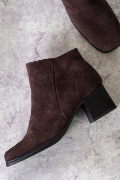 vintage suede ankle boots in dark brown