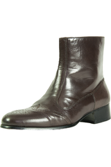 mens brown leather chelsea boots with black heel