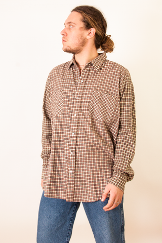 vintage brown and beige plaid flannel shirt
