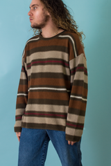 vintage brown and multicolor striped sweater