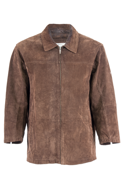 Vintage brown suede jacket with zip closure and pointed collar