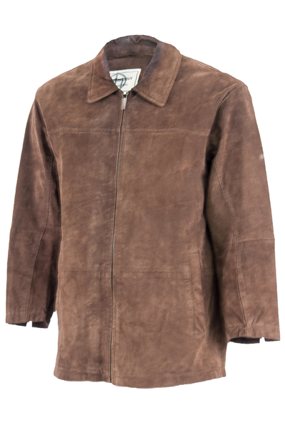 brown suede jacket with zip closure and pointed collar
