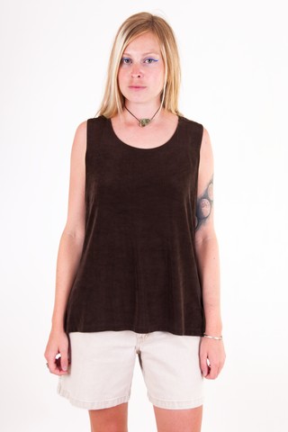 vintage shiny brown tank top