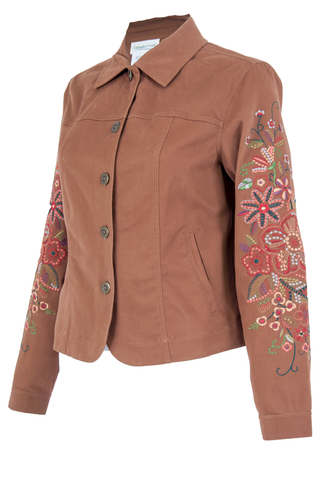 brown jacket with floral embroidery