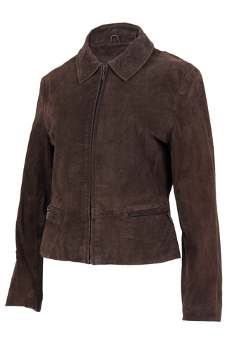 brown suede jacket with pointed collar and front zip.