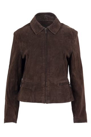 Vintage suede jacket in dark brown with pointed collar and front zipper closure