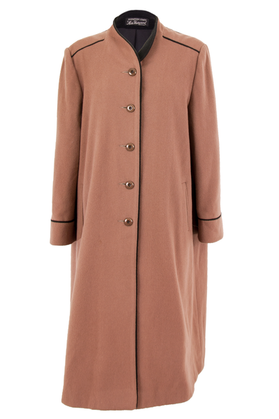 brown wool coat with front button closure and black trim