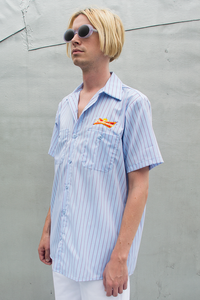 vintage Budweiser button up shirt in light blue