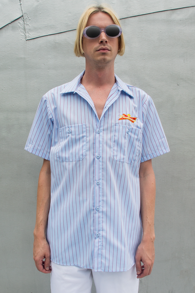 vintage Budweiser employee button up shirt in light blue