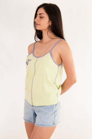 vintage pastel green tank top with purple trim
