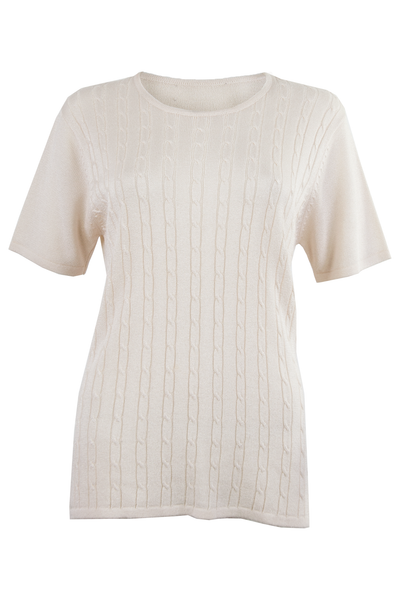 vintage off-white tee shirt featuring cable knit stitching down front
