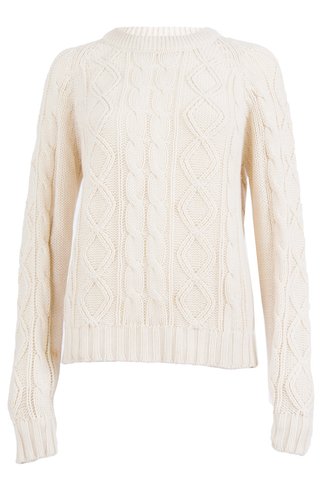 vintage off-white sweater with cable knit stitching