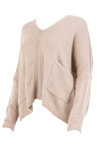 camel dolman sweater with oversized pockets and cropped length