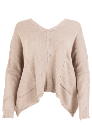 camel sweater featuring pockets and cropped length