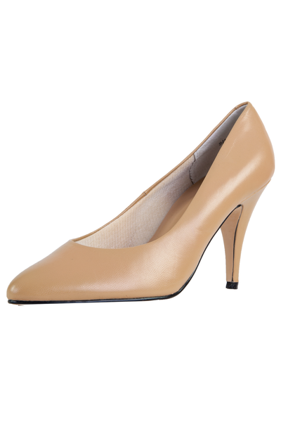 tan leather heels with pointed toe