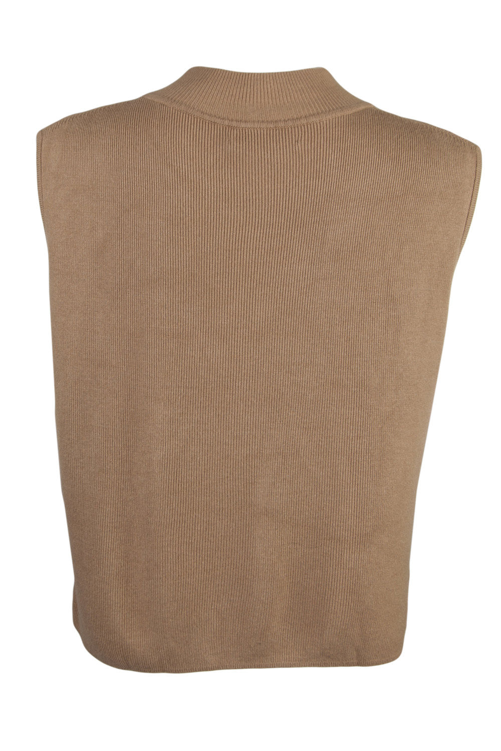 silk mock neck tank in camel