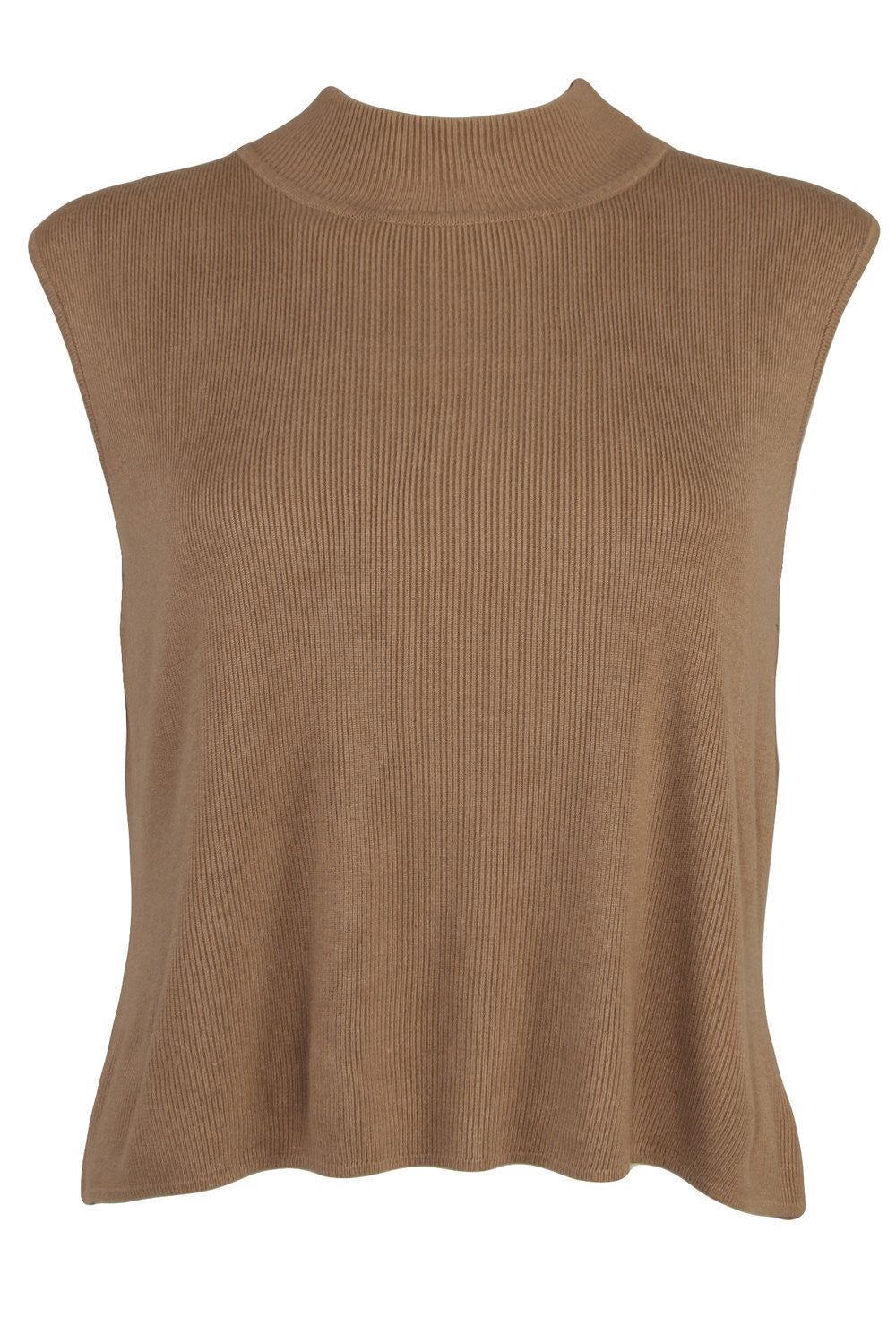 Mock neck tank top in camel
