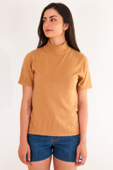 vintage camel mock neck short sleeved sweater