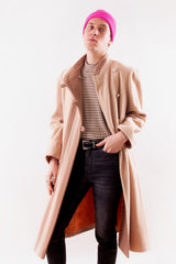 Overcoat in camel with pink stripe