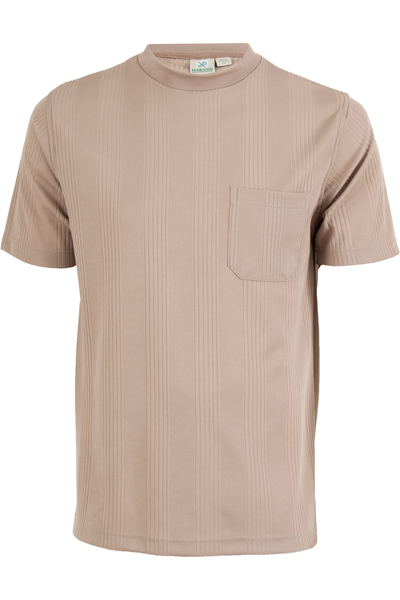 Camel mock neck shirt with pocket at chest