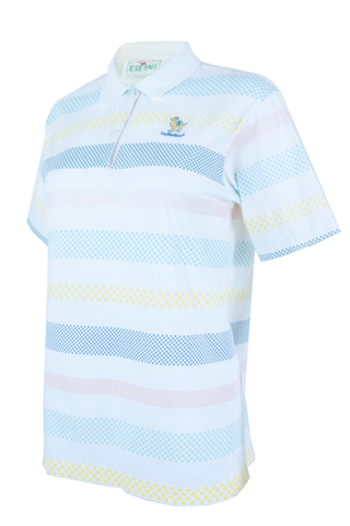 vintage white polo t-shirt with 'Camelback' patch at chest and multi-color striping