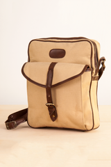 vintage beige canvas messenger bag