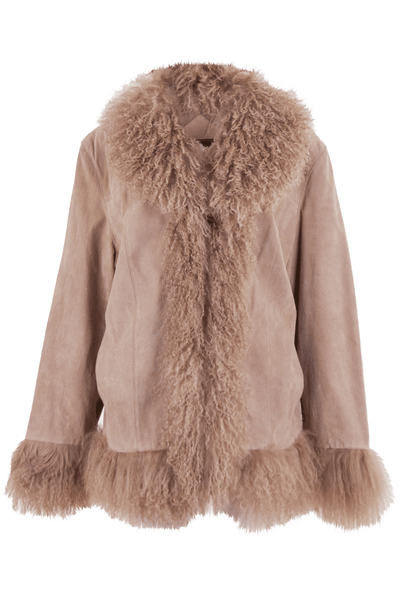 suede coat with fur trim in tan blush
