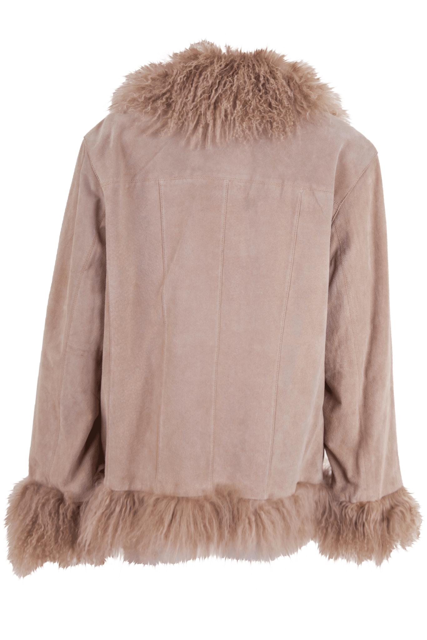 tan suede coat with fur trim