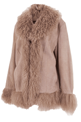 vintage suede coat with fur trim in nude blush