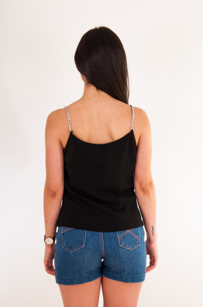 biker tank top with chain straps