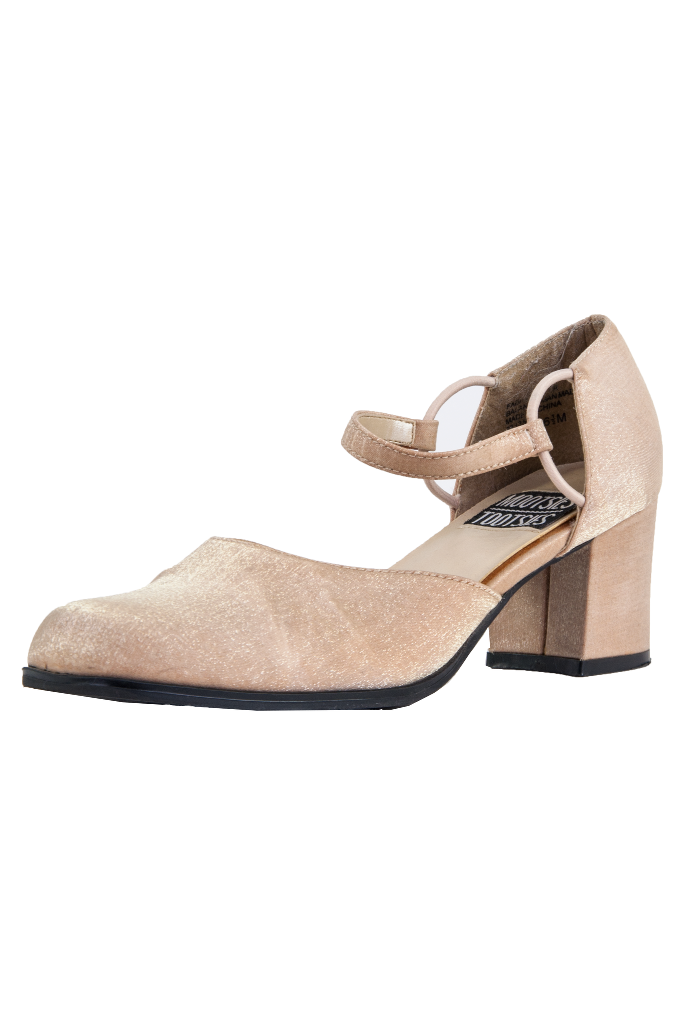 Glitter mary-jane shoe with high heel in tan