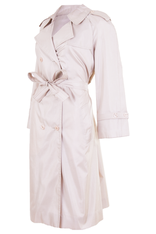 champagne shimmer trench coat with belted waist
