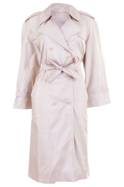 vintage trench coat in champagne shimmer with belted waist and lapel collar
