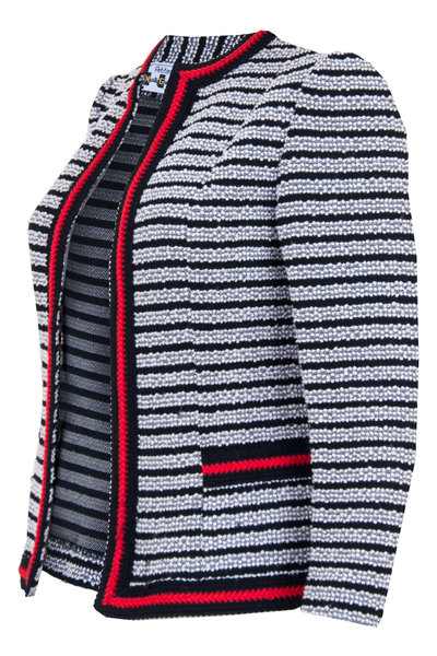 tweed jacket in black in white stripes with red trim